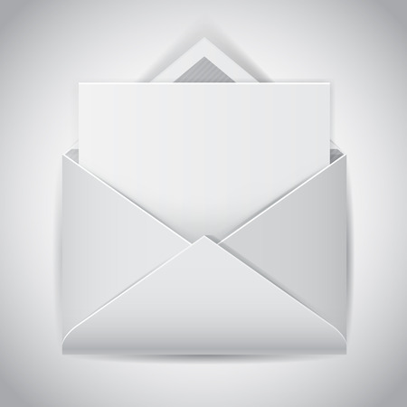 open envelope: Clear e-mail vector icon, realistic open envelope with empty letter