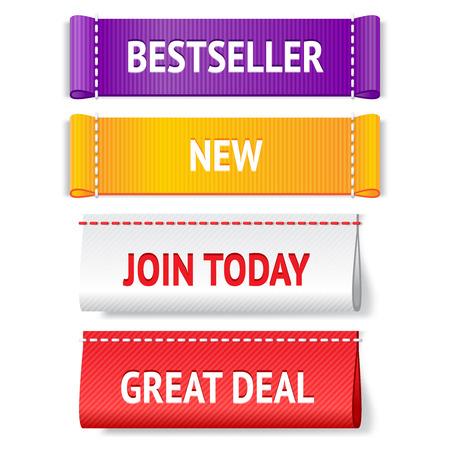 Stof heldere vector label set voor internet winkelen; Schrijf u vandaag, een goede deal, nieuwe en bestseller realistisch tekenen voor web