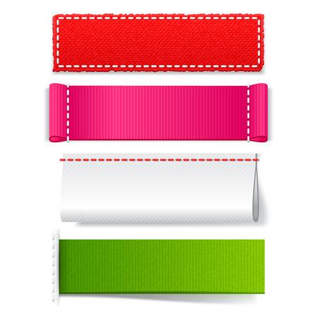 etiquetas de ropa: Conjunto de etiquetas de tejido realista plantilla, vectores vac�os etiquetas brillantes para el dise�o en un fondo blanco Vectores