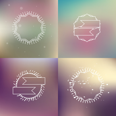 pastel backgrounds: Vintage colored blur backgrounds set with outline hipster badges, vector cover design templates in pastel colors Illustration