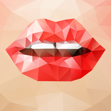 tempt: Beautiful woman red triangle lips, vector abstract bright geometric illustration