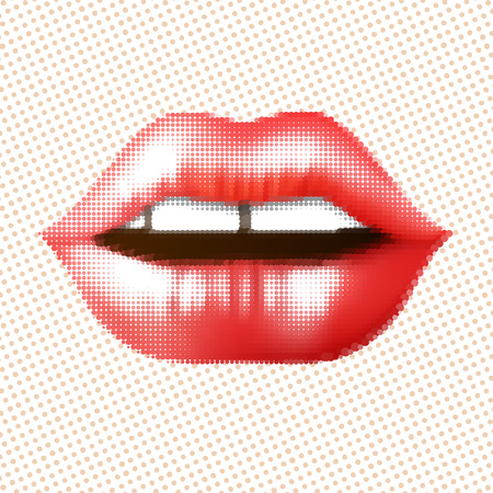 sexy mouth: Halftone red attractive woman lips, vector illustration in retro style