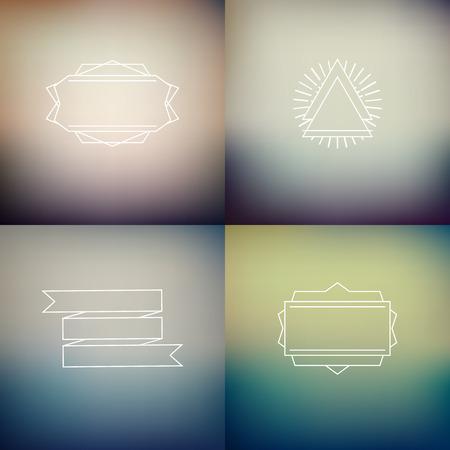 Instagram filter kleuren stijl onscherpe achtergronden met decoratie badges, vector defocused wallpaper sjabloon set Stock Illustratie