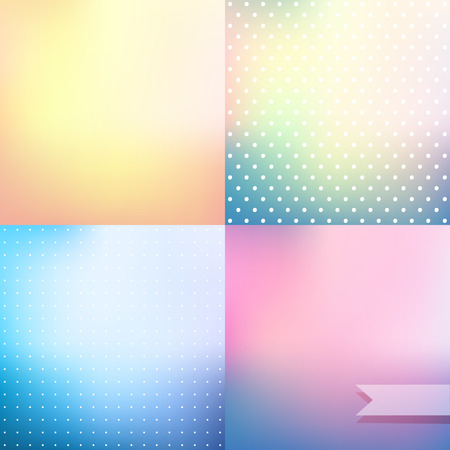 pink backdrop: Pastel colored blurred vector background set, polka dot pattern wallpaper; soft pink,  blue and yellow defocused empty backdrops Illustration