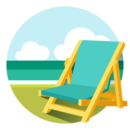 strandstoel: Vector vlakke stijl strandstoel illustratie Stock Illustratie
