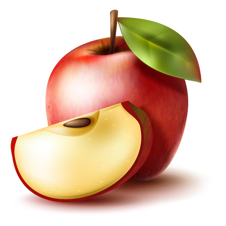 apple slice: Juicy realistic red apple with apple slice on a white background