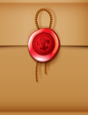 red envelope: Vector realistic red wax seal with fleur de lis sign, stamp with rope on brown envelope background Illustration