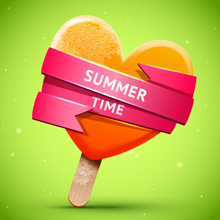 Summer illustration with bright orange ice cream with pink shiny ribbon, vector food  frosted chill icon Vector