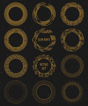 sol radiante: Conjunto de rayos de sol de oro del vector de la vendimia, los rayos cósmicos y el espacio de diseño gráfico; elementos de decoración inconformista; radiante sol, el sol y los rayos del sol