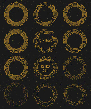 sunshine: Vintage vector gold sunburst set, graphic design cosmic and space rays; hipster  decoration elements; radiant sun, sunshine and sunrays Illustration