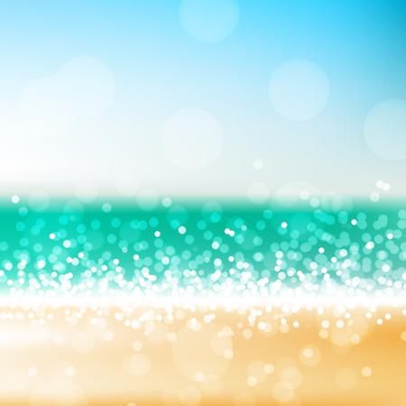 Tropisch strand vector abstract achtergrond, helder wazig zee en strand scène