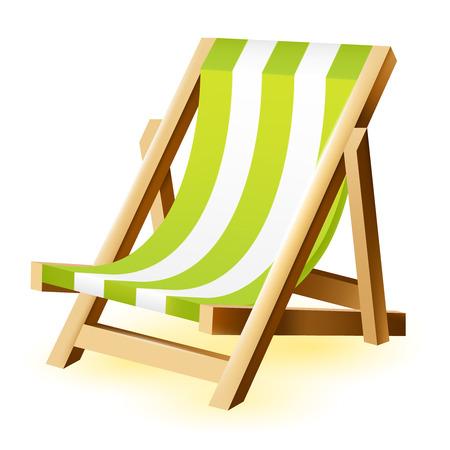 Geïsoleerde vector strand stoel op een witte achtergrond