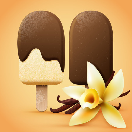 Realistic chocolate ice cream with vanilla flavour. Summer vector illustration. Ilustração