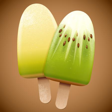 kiwi fruit: Mel�n y kiwi crema sabor de hielo, brillante vector refresco ilustraci�n verano realista Vectores