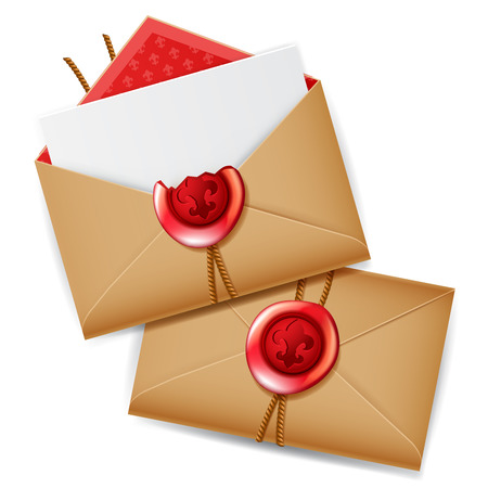 Private message with red wax seal, isolated realistic secret letter, mail icon Illustration