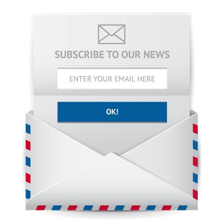 Abonneer geïsoleerde vector icon Meld je nieuwsbrief illustratie