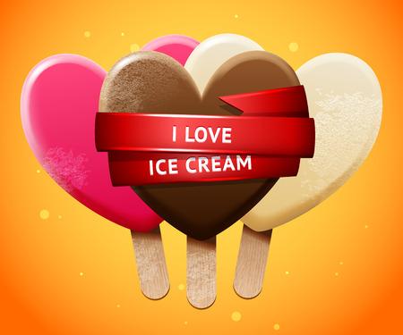 chill: Sweet vector heart shaped realistic ice-cream set, chill bright poster design I love  ice cream Illustration
