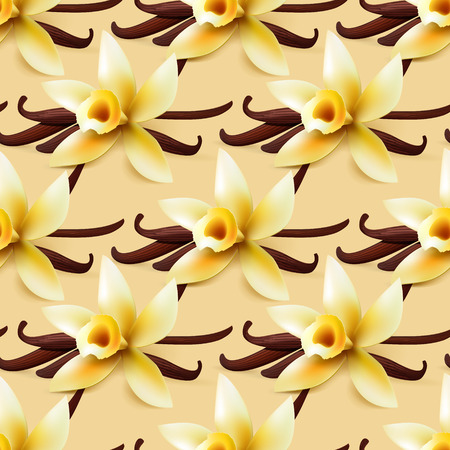 Vanilla flower vector seamless background, sweet wrapping paper pattern for bakery or  confectionery shop Illustration
