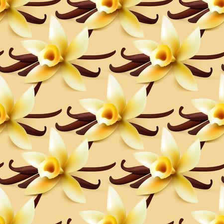 Vanilla vectorial Flor sin antecedentes, dulce patrón de papel de embalaje para la panadería o confitería tienda Vectores