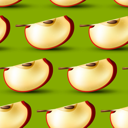apple slice: Realistic apple slice vector background, seamless bright fruit pattern