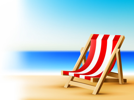 Bright sea background with beach chair, vector tropical illustration Vector