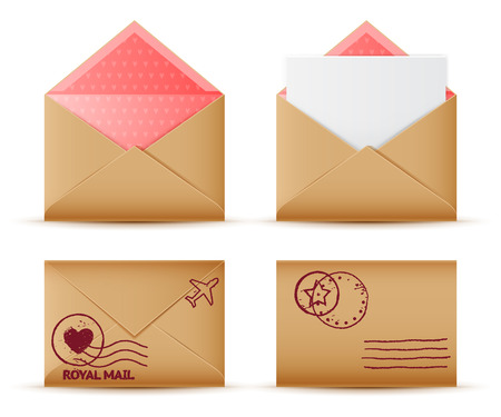 royal mail: Vector realistic mail envelope set, letter and postal stamps, postal message icon Illustration