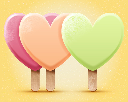 pastel colored: Vector pastel colored ice cream illustration, three realistic heart shaped ice-creams on a stick. Love icecream poster Illustration