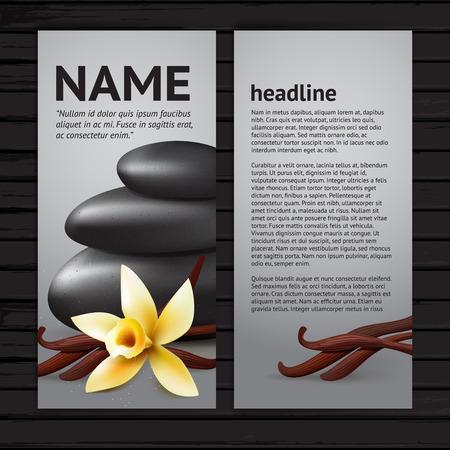 vainilla flor: Banner de Spa con flor de vainilla, vainas y piedras negras, diseño plantilla de volante