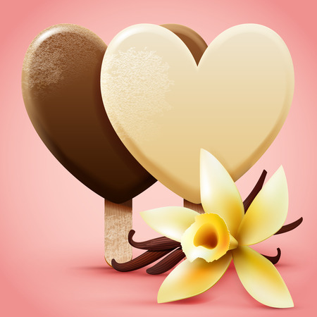 frosted: Vanilla ice cream. Heart shaped frosted sweet ice-cream on a stick with flower and pods. Realistic detailed vector illustration.