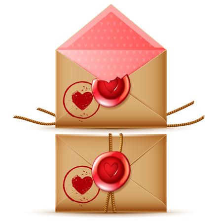 message vector: confidencial icono rom�ntico mensaje de vector, aislado abierto y cerrado sobres retro con sellos de cera y el sello del coraz�n