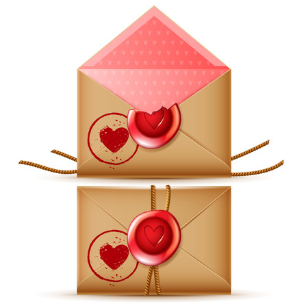 secret love: confidential romantic vector message icon, isolated open and closed retro envelopes with wax seal and heart stamp