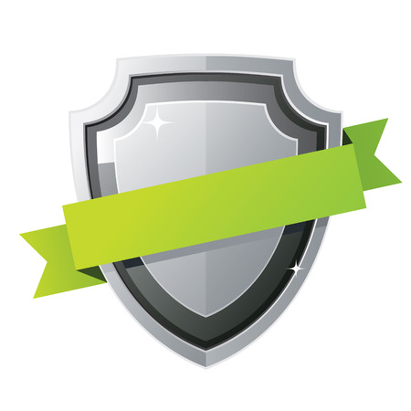 Black steel shield with green ribbon Ilustracja