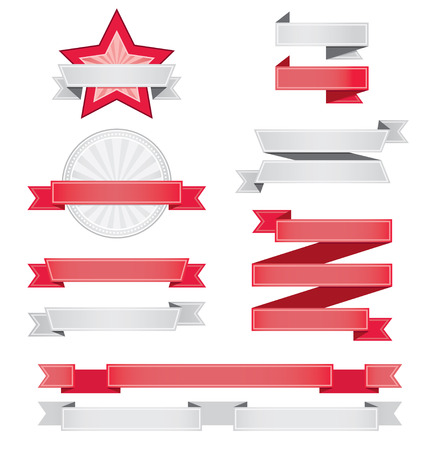 ribbon frame: Set of blank red and grey labels