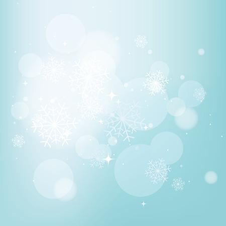 Fondo azul del invierno con copos de nieve