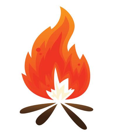 単純なたき火  イラスト・ベクター素材