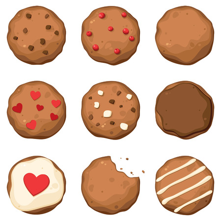 Set of few different tasty cookies with black and white chocolate, red berries and with decoration 