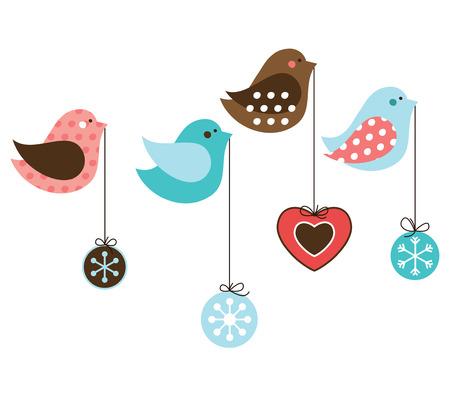 aves caricatura: Diversas aves de Navidad con bolas de Navidad