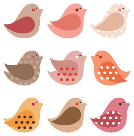 paloma caricatura: Conjunto de pájaros lindos simples diferentes