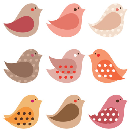 Set of cute simple different birds Illustration