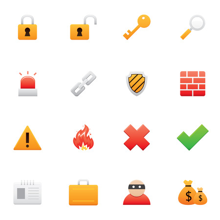 burglar alarm: Set of color security icons Illustration