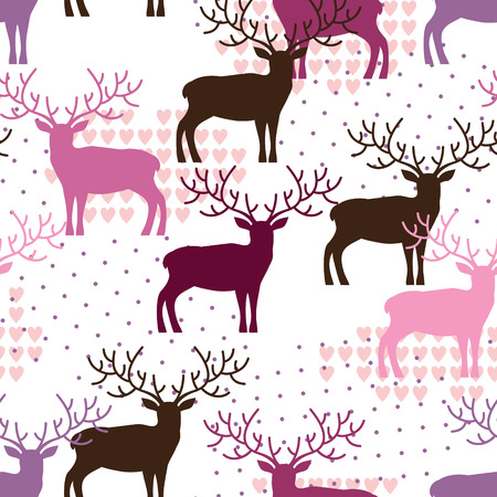deer in heart: Deer seamless pattern
