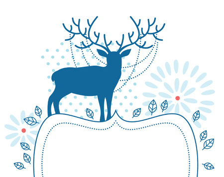 antlers silhouette: Blue deer with decorated frame Illustration