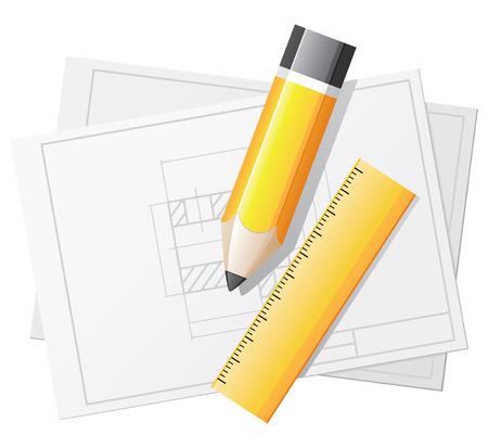 dibujo tecnico: Dibujo técnico con regla y lápiz de color amarillo