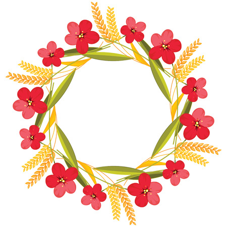 wreath of wheat: Autumn flower wreath with red flowers and ears.