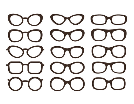 eyewear fashion: Big collection of glasses in different styles Illustration
