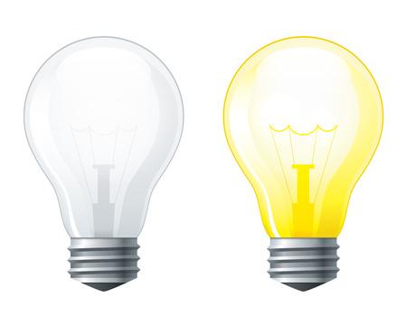 bombillo: Conjunto de bombillas de luz, apagado y brillante bombilla de luz amarilla