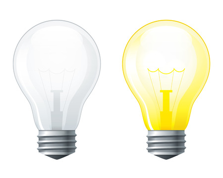 on off: Light bulbs set, turned off and glowing yellow light bulb