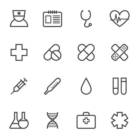 Contour eenvoudige medische pictogrammen instellen Stock Illustratie