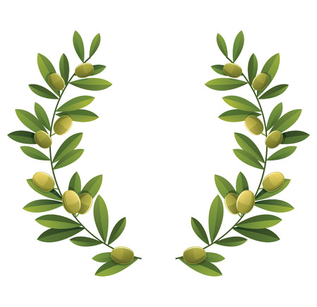 olive branch: Green olive wreath.
