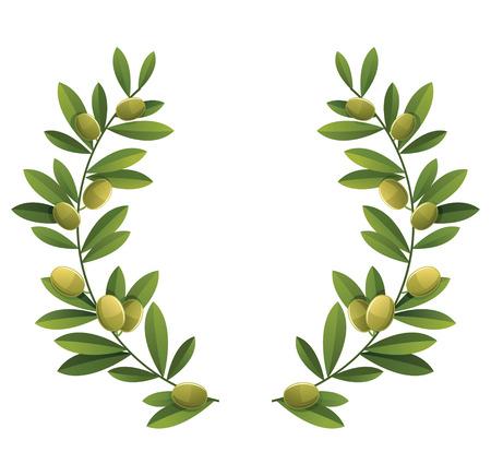 foglie ulivo: Verde oliva corona. Vettoriali